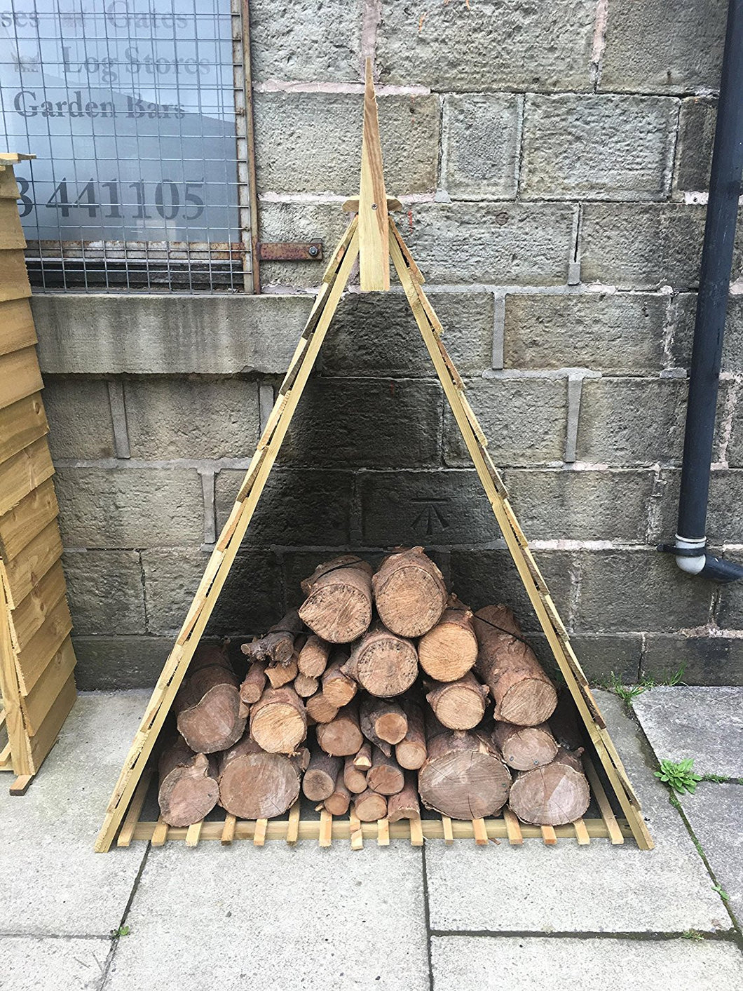 Brilliant Pyramid Triangle Log Store Wood House Timber Storage Camellatalisay Diy Chair Ideas Camellatalisaycom