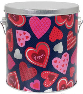 1 Gallon - Happy Hearts w/ Chocolate Covered Strawberry Popcorn