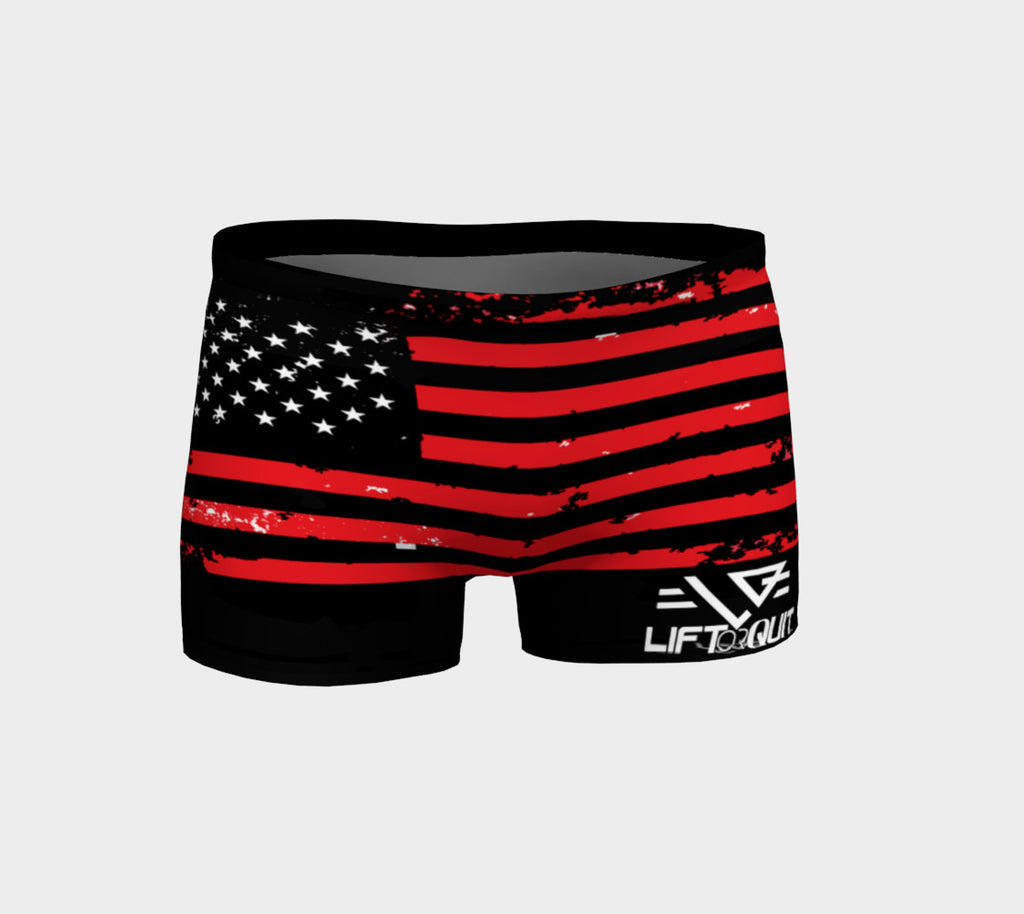 Women's Compression Fitted Flag shorts - liftorquitapparel