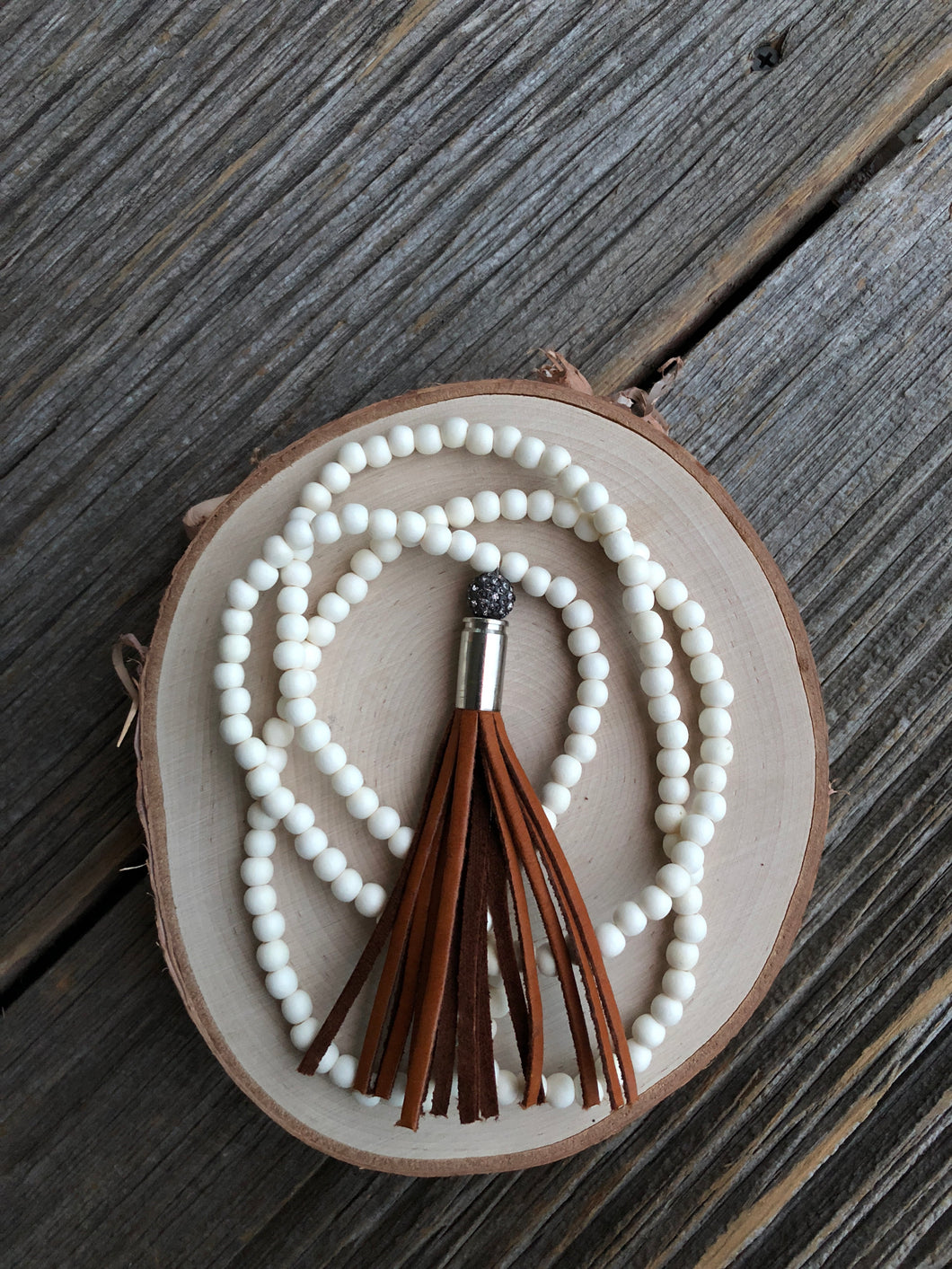 Winter White|Tan Tassel