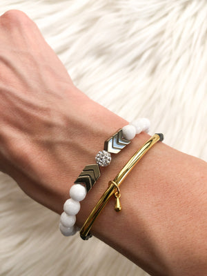 White Jade with Gold Chevron
