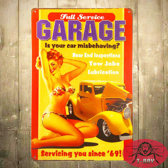 Vintage metal signage the best of hot rods and classic pin up girls ...