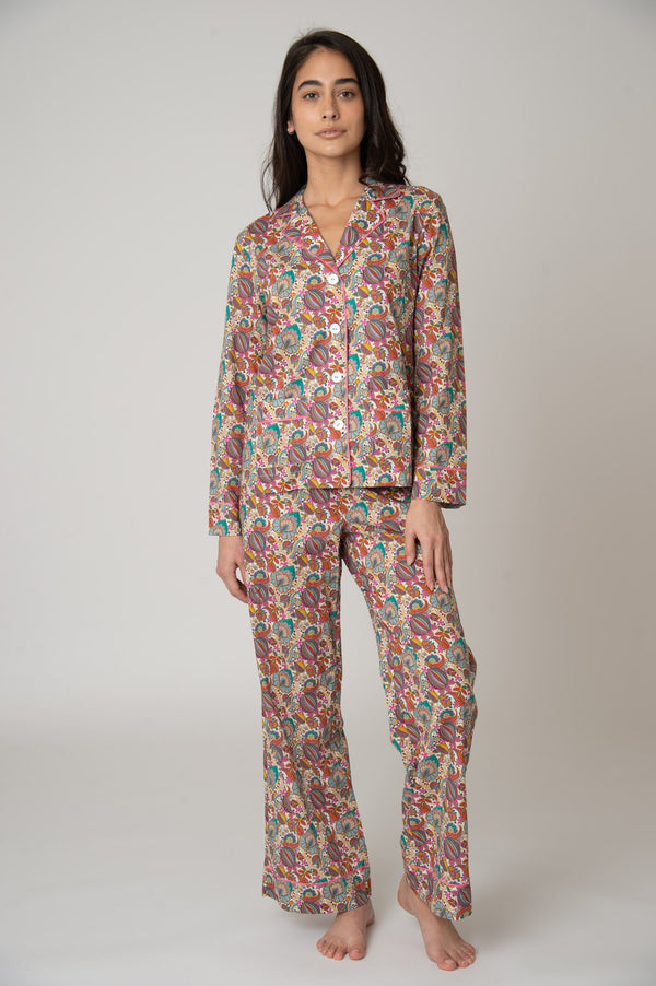 Katro Colony Cotton Pajama Set White Citronella Vine