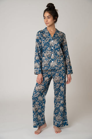 Colony Cotton Pajama Set - Blue Graceful