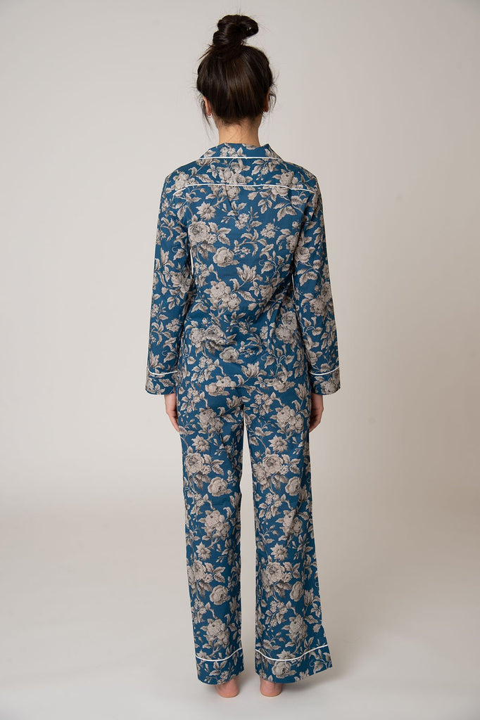 Katro Colony Cotton Pajama Set Blue Graceful