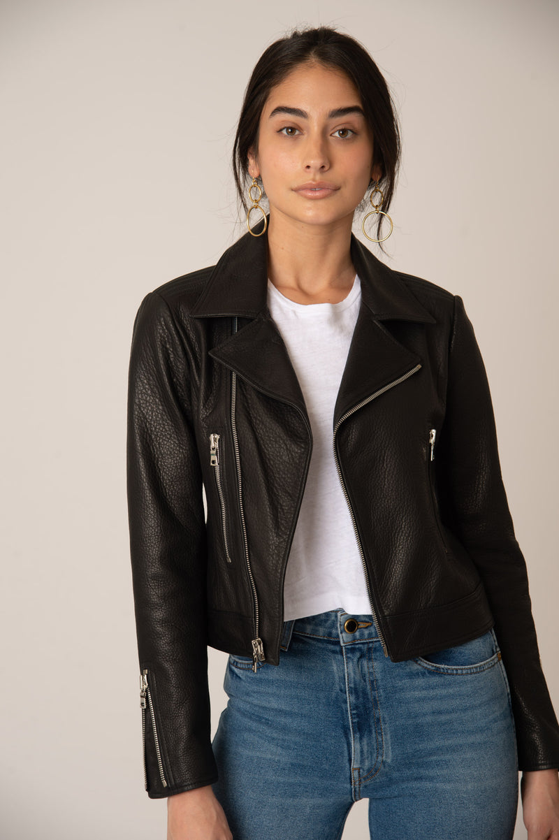 Laurel Canyon Leather Jacket - Cherry Blossom / Shiny Zipper