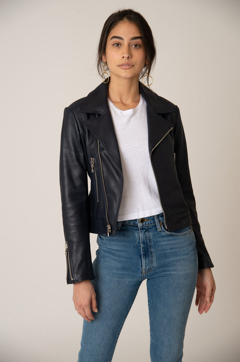 Katro Laurel Canyon Leather Jacket Navy