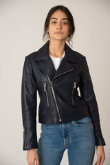 Katro Laurel Canyon Leather Jacket Navy Closed
