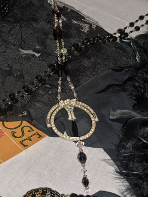 Art Deco Rhinestone Pendant Necklace with Black Bead Tassel