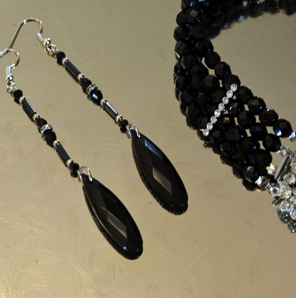 Black Art Deco Statement Earrings