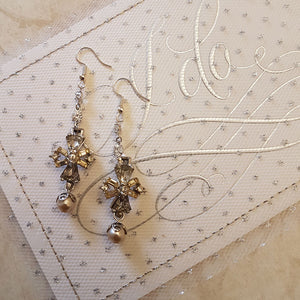 Rhinestone Maltese Cross and Pearl Earrings
