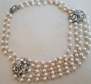 Pearl Necklace featuring Double Rhinestone Pendants