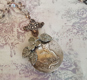Madame Pompadour Compact Repurposed Vintage Necklace