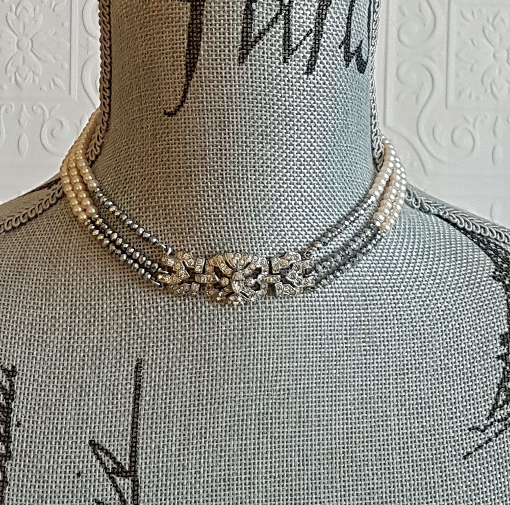 Art Deco Silver and Pearl Necklace