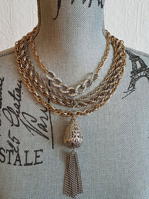 Silver and Gold Tasseled Statement Necklace