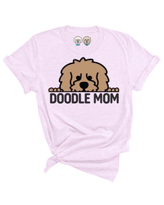 DOODLE MOM WITH TAN COLOR DOODLE FACE- LAVENDER T-SHIRT