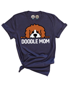 DOODLE MOM WITH RED + WHITE COLOR DOODLE FACE- NAVY T-SHIRT