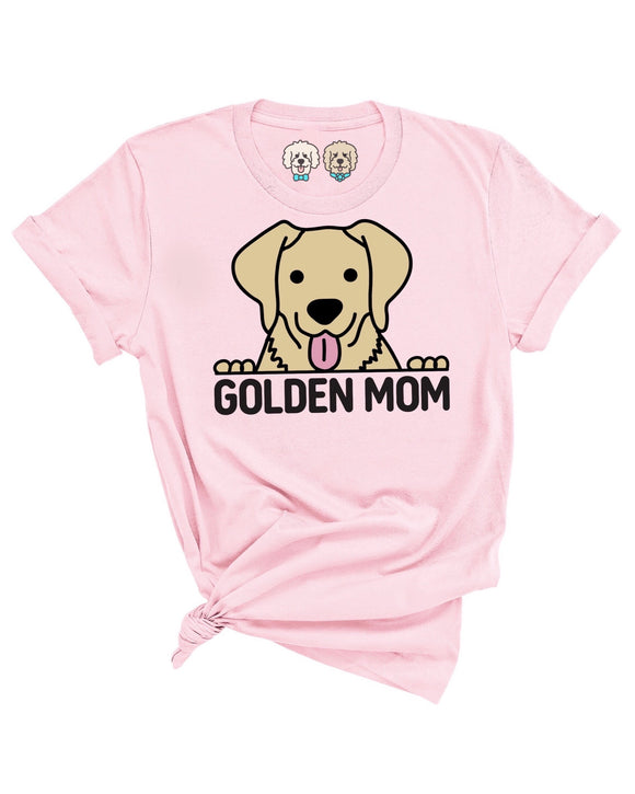GOLDEN RETRIEVER MOM- LIGHT PINK T-SHIRT