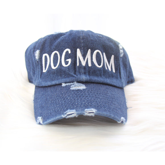 DOG MOM Hat - Dark distressed denim