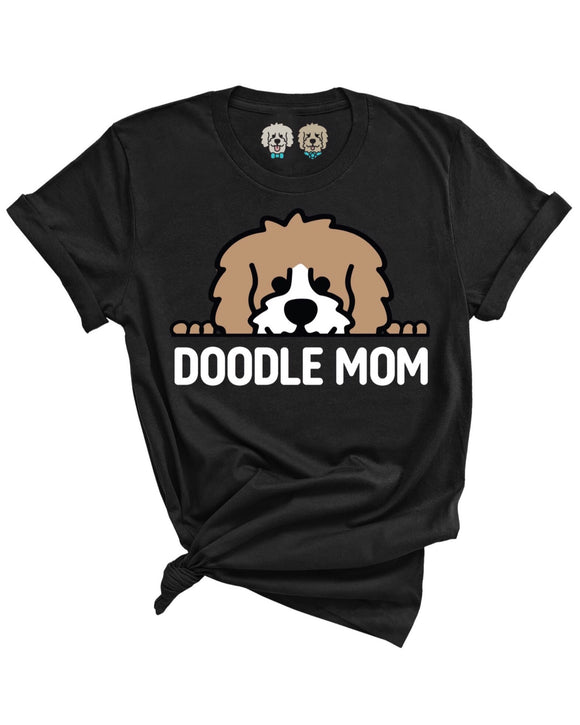 DOODLE MOM WITH TAN + WHITE COLOR DOODLE FACE- BLACK T-SHIRT