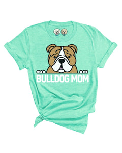 BULLDOG MOM- HEATHERED MINT T-SHIRT