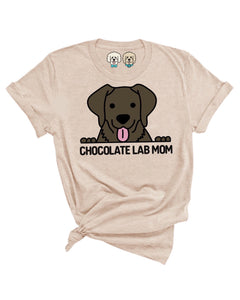 CHOCOLATE LAB MOM- TAN T-SHIRT