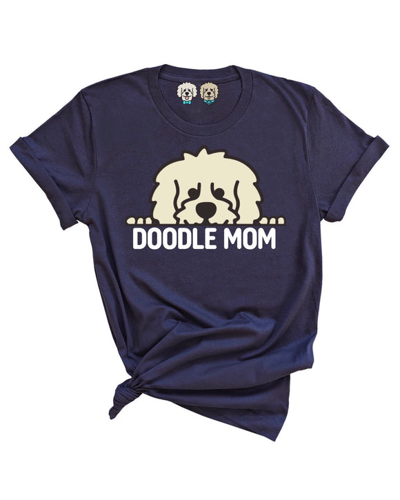 DOODLE MOM WITH CREAM COLOR DOODLE FACE -NAVY T-SHIRT