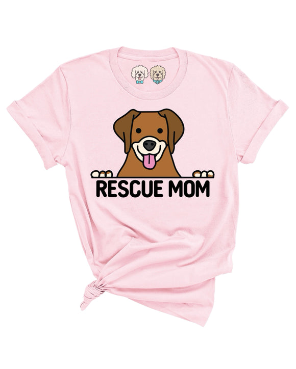 RESCUE MOM DOG GRAPHIC - LIGHT PINK T-SHIRT