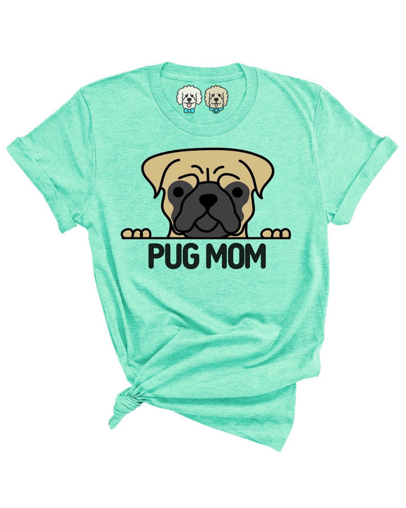 PUG MOM- HEATHERED MINT T-SHIRT