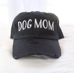 DOG MOM DISTRESSED BLACK HAT- BY DAPPER DEXTER