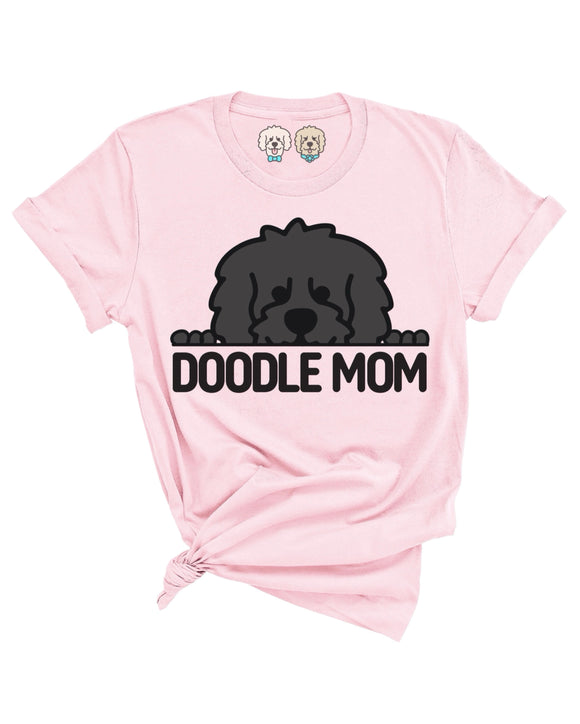 DOODLE MOM WITH BLACK DOODLE FACE- LIGHT PINK T-SHIRT