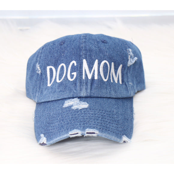 DOG MOM DISTRESSED MEDIUM DENIM HAT BY DAPPER DEXTER