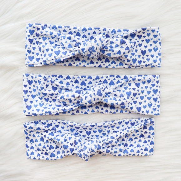 WHITE WITH BLUE HEARTS - HUMAN HEADBAND