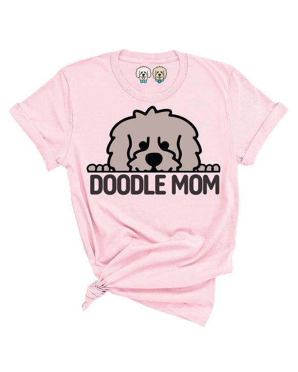 DOODLE MOM WITH MOCHA COLOR DOODLE FACE- LIGHT PINK T-SHIRT