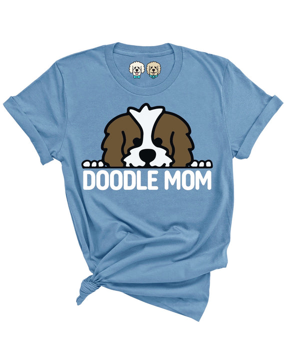 WHITE + CHOCOLATE DOODLE MOM- SLATE T-SHIRT