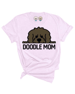 DOODLE MOM WITH CHOCOLATE COLOR DOODLE FACE- LAVENDER T-SHIRT