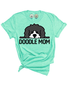 DOODLE MOM WITH BLACK + WHITE DOODLE FACE- HEATHERED MINT T-SHIRT
