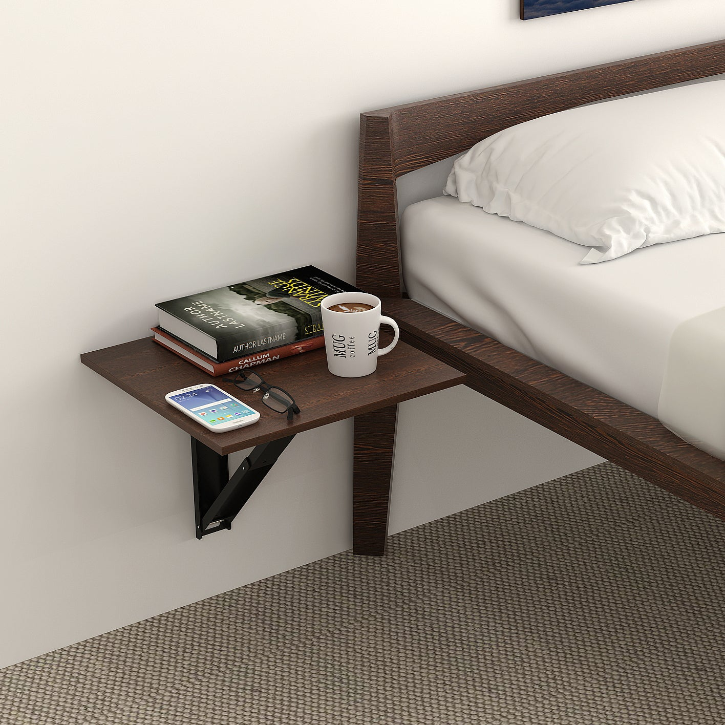 Hemming Wall Mounted Folding Bed Side Table Set Of 2 Bluewud