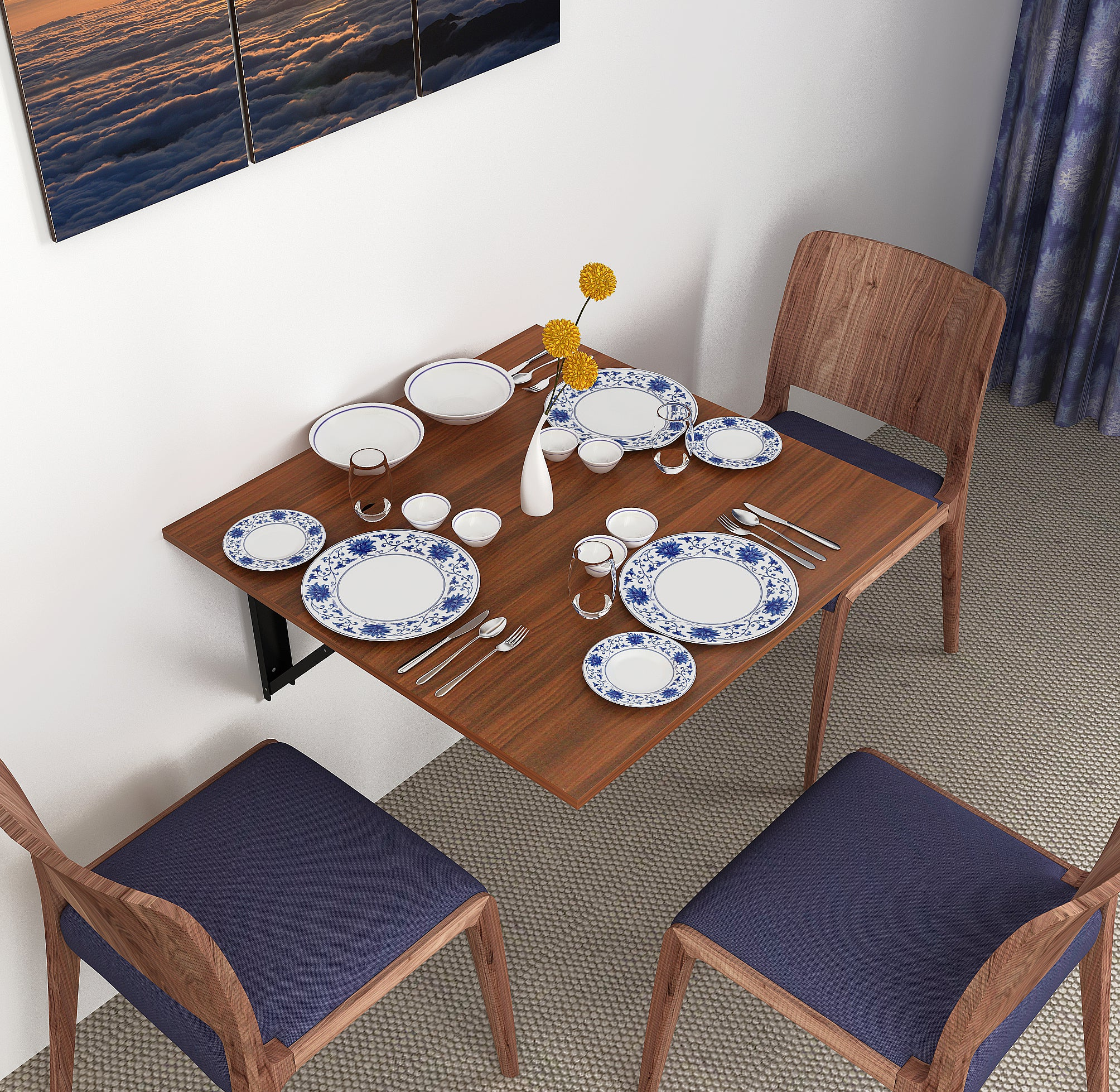 Hemming Wall Mounted Folding Dining Table 3 Seater Bluewud