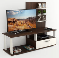 Bluewud Novah Engineered Wood TV Entertainment Unit Stand (Wenge & White) Standard - Ideal for upto 32""