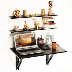 Hemming Folding Wall Mounted Study Table with Book Shelves