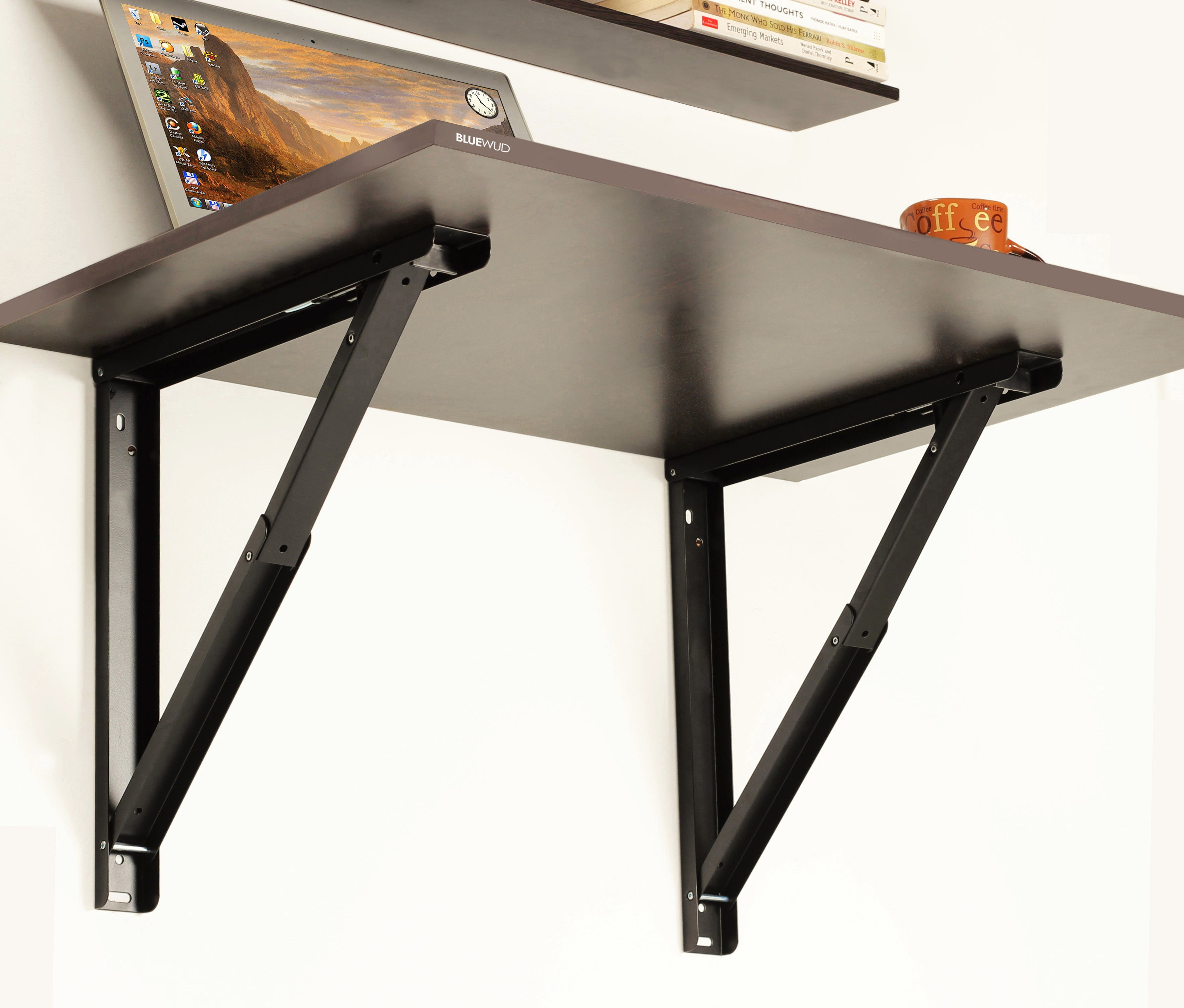 ... Hemming Folding Wall Mounted Study Table With Book Shelves    Bluewud.com ...