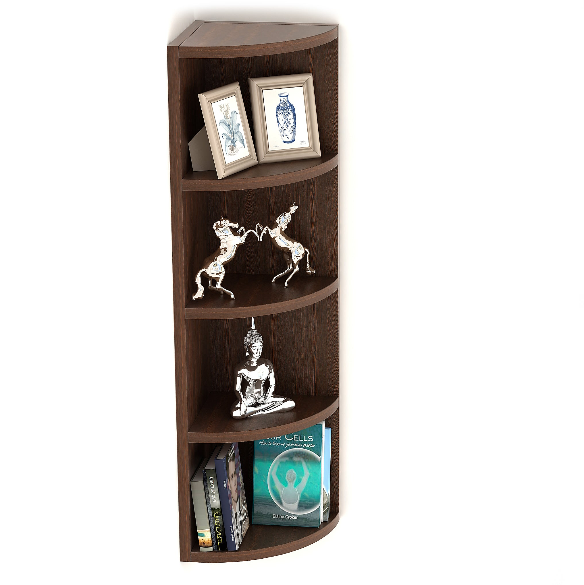 Bluewud Adora Corner Wall Decor Shelf Wall Display Rack 5 Shelves