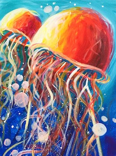 Beginner Acrylic Painting July 1, 2019- JELLYFISH!