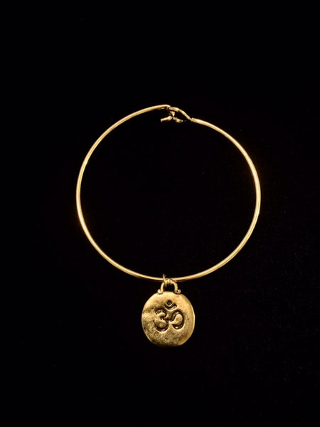 Om Symbol Charm Bracelet with Gold Finish