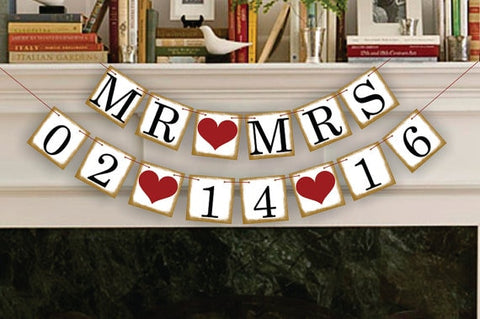Personalised Mr & Mrs Wedding Date Bunting