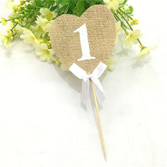 Burlap Table Numbers 1-10 (10pcs)