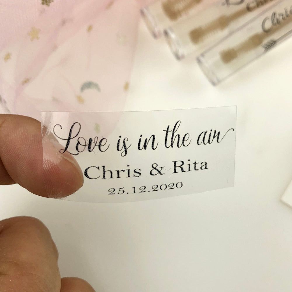 Personalised Clear Wedding Labels