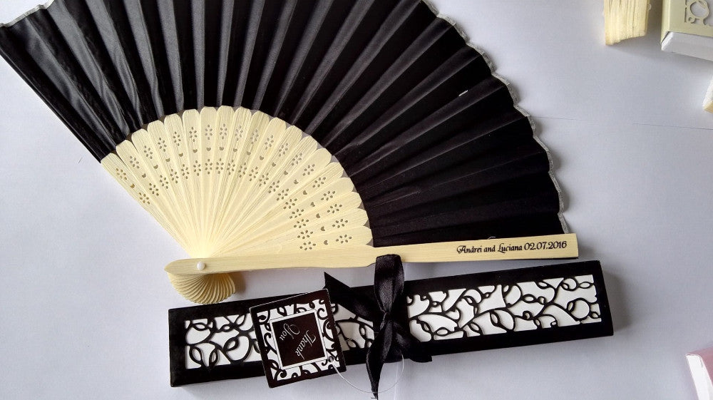 Personalised Japanese Bamboo Hand Fans Favor Bundle