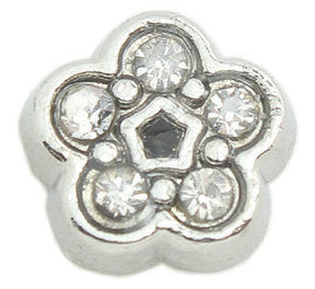 Diamante Flower Floating Charm - 1pc